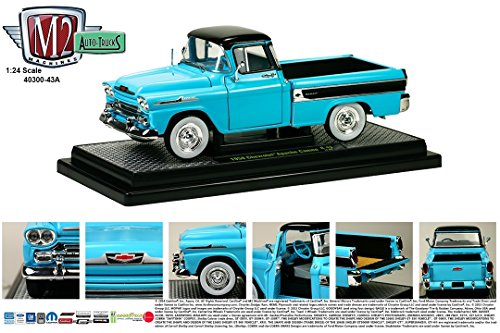1958 Chevrolet Apache Cameo Pickup Truck Tarton Turquoise 1/24 By M2 Machines 40300-43A