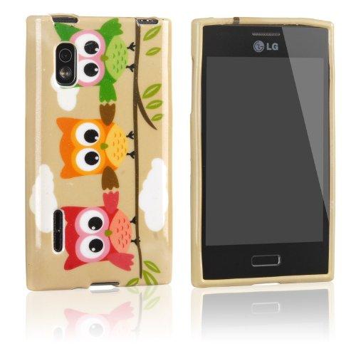 tinxi® Design Schutzhülle für LG Optimus L5 E610 Hülle TPU Silikon Rückschale Schutz Hülle Silicon Case drei bunte Eule Owl Uhu Kauz Muster