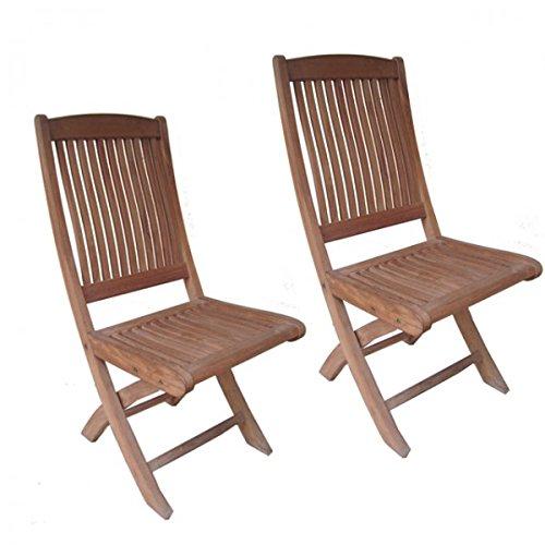 2er Set Klapparmstuhl MEDAN ohne Armlehne Teak A-Grade unbehandelt ergonomisch Gartenstuhl Holz günstig kaufen