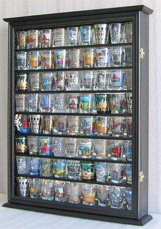 Large 72 Shot Glass / Shooter Display Case Cabinet Rack Holder-Glass Door, Mirror Back-Black Finish (SC13-BL) (Shot Glass Display Case 72 compare prices)