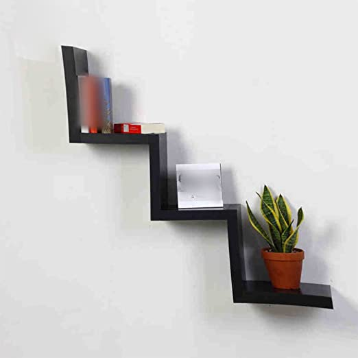 Estante, tipo W Estantería creativa Tabique Marco decorativo Colgadura de pared En la pared Simple Stent Partition ( Color : Negro )