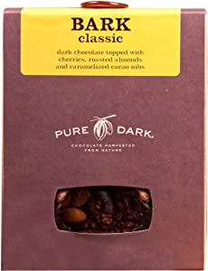 PURE DARK Bark Classic Chocolate with Cherries Almonds and Caramelized Nibs, 7.5-Ounce