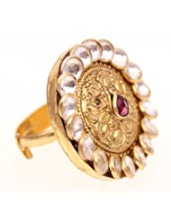Silvermerc Designs Gold Plated Silver Ring For Women (smd 186)