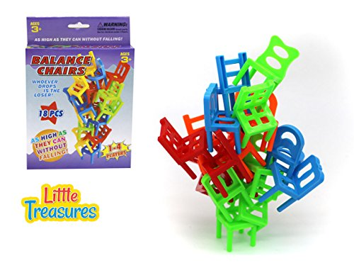 Balance Chairs – designed for 3+ kids 18 pcs of educational mind game of piling and balancing little colorful chairs for solo play or with friends, get as high as you can without falling or dropping