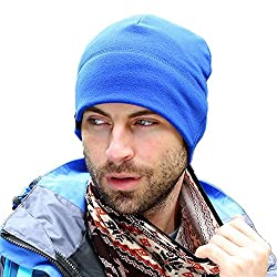 Home Prefer Winter Outdoor Watch Hat Simple Solid Warm Daily Beanie Cap Blue