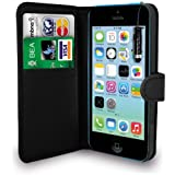 Apple iPhone 5C Black Leather Wallet Flip Case Cover Pouch + Mini Touch Stylus Pen + Screen Protector & Polishing Cloth