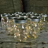 Mason Jar Light - 16 Oz. Pint - Warm White Battery Fairy Lights - Set Of 12