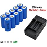 10x 2000mah 3.7v Cr123a 16340 Li-ion Rechargeable Battery +Charger for Ultrafire