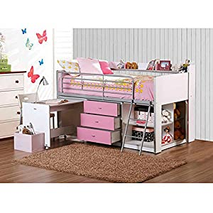 Pink And White Kids Loft Bed With Storage And Work Desk Twin Size Childrens Teens