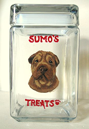 SharPei, Dog Treat Jar, Custom Canister, Dog Biscuit Holder, Pet Storage, Personalized Pet, Dog Art, Animal painting from a photo of your pet (Personalized Dog Treat Jar compare prices)