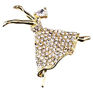 Pugster 22K Golden Plated Beautiful Dancer Girl Clear Swarovski Crystal Diamond Accent Brooches And Pins