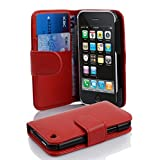 Apple Iphone 3 / 3G / 3GS Case , CADORABO Iphone 3 Case Wallet [RED] Premium PU Leather Wallet Case Flip Cover...