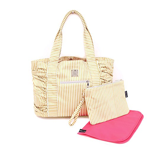 Bella Tunno Gathered Tote Classic Canvas Baby Bag, Gold Metallic Stripe