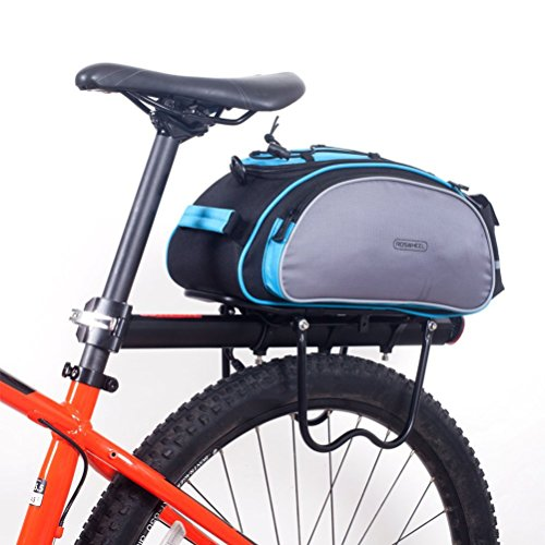 BlueTop Bicycle Back Seat Trunk Rack Tail Pouch Shoulder Handbag Tote Bag Pannier (Blue) (Back Rack Insert Rack compare prices)