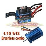 HOBBYPOWER   60A ESC ブラシレス スピードコントローラー +  9T 4400KV モーター 1/10 1/12 RCカー対応