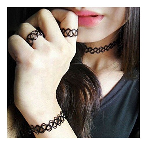 HUSUP® Vintage Black Gothic Stretch Elastic Double Line Henna Tattoo