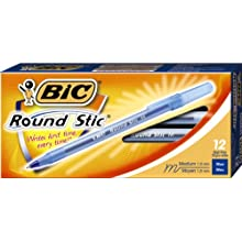 BIC Round Stic Ballpoint Pens, 1.0 mm, Blue,  Box of 12 (GSM11-Blu)