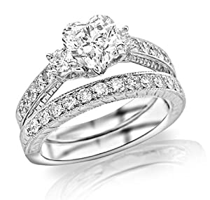 1.56 Carat Three Stone Vintage With Milgrain & Filigree Bridal Set with Wedding Band & Diamond Engagement Ring (G Color, SI1 Clarity)
