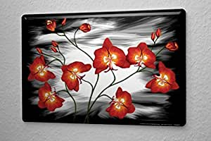 Tin Sign Kitchen Decor Poppy Flower Black White Background 8x12 Home Kitchen