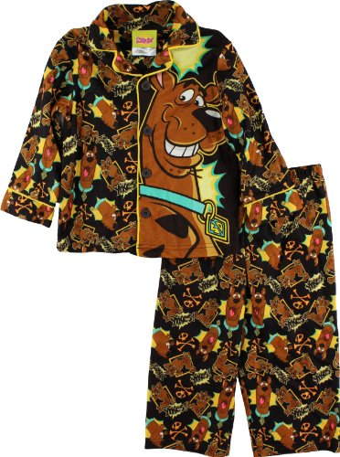 "Scooby Doo ""Yikes"" Toddler Boys Brown Flannel Coat Style Pajama Set Size 2T-4T (4T) front-565470"
