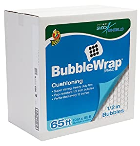 Duck Brand Bubble Wrap Protective Packaging with Dispenser Box, Extra Large Bubbles, 12 Inches x 65 Feet, Single Roll (862825)