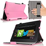 "MoKo(TM) Slim-fit Folio Cover Case for Amazon Kindle Fire HD 7"" inch Tablet, Carbon Fiber PINK (with Automatic Wake/Sleep function, Protective Hardback, Built-in Multi-angle Stand, Integrated Elastic Hand Strap)--Lifetime Warranty"