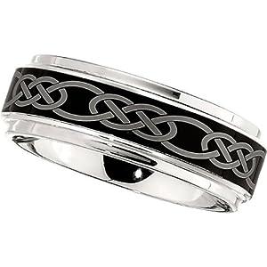Dura Cobalt Band with Black Laser Celtic Knot Pattern: Size 10