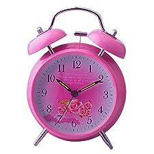 UQ Réveil matin Lumineux Rose Rond Silencieux Double cloches La Tour Eiffel