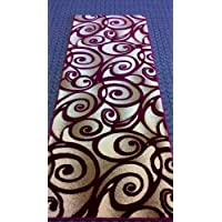 Modern Rug Runner 32 In. X 7 Ft. 3 In. Design Contempo 341 Burgundy