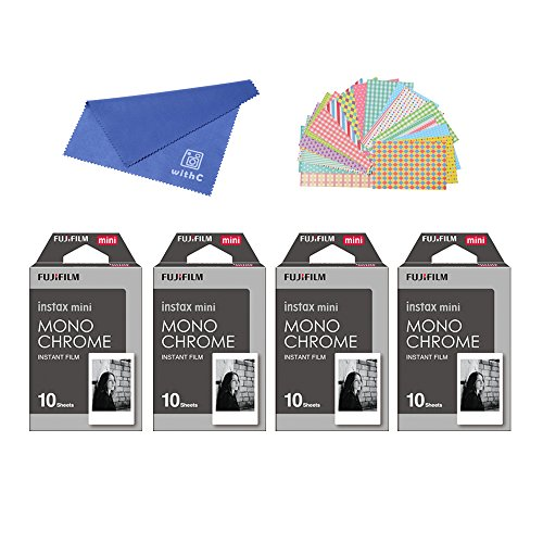 Fujifilm-Instax-Mini-Instant-Film-Monochrome-4-PACK-BUNDLE-SET-Mono-chrome-10-x-4-40-337556-Original-Cleaning-Cloth-Stickers-20-pcs-for-Mini-90-8-70-7s-50s-25-300-Camera-SP-1-Printer