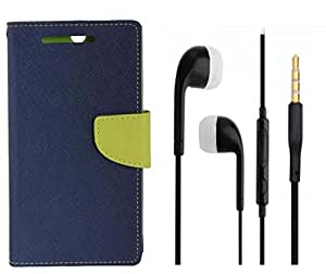 Novo Style Wallet Case Cover For Samsung Galaxy On5 Blue + Earphone / Handsfree with 3.5mm jack