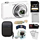 Sony Cyber-shot DSC-WX80/W 16.2MP Wi-Fi Digital Camera with 8x Optical Zoom in White + Sony 32GB SDHC Class 10 + Sony Camera Case + Replacement NP-BN1 Battery + USB Card Reader + Accessory Kit