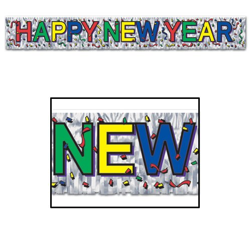 Metallic Happy New Year Fringe Banner