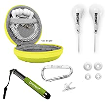 buy Great Sounding In-Ear Earphones With Microphone. Best Earbuds For Apple Headphones Iphone Ipad Ipad Mini Ipod Android Samsung Galaxy Smartphones. Earbud Case. Devicemate® Sd 455 Lime Green