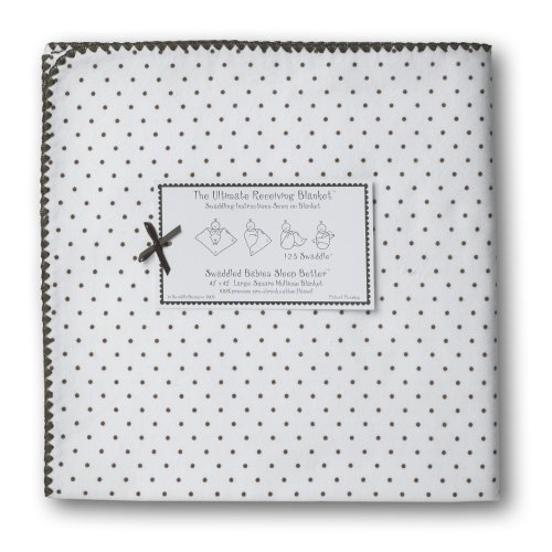 SwaddleDesigns Ultimate Receiving Blanket - Polka Dots - Chocolate Brown