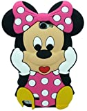 Angelina(TM) Cartoon Mickey Minnie Mouse Slilcone Soft Skin Phone Case Cover Design Compatible For Samsung Galaxy Note 2 N7100 Pink Color