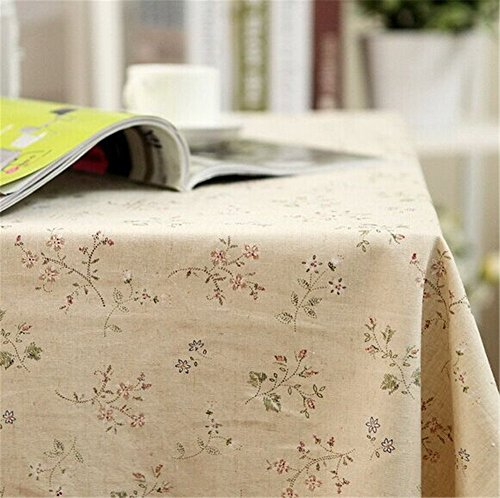 SNW American Country Style Cotton Tablecloth Rectangle Tablecloth Suitable for Dining Table,Computer Desk,Book Desk,Bar,Coffee Table