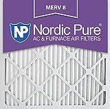 nordic pure 20x20x1m8 6 merv 8 pleated ac furnace air filter 20x20x1 box of 6