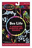These four-sheet activity kits offer creative play and learning, too! Trace the sea-animal shapes with the stencil and fill them in with your own designs to create holographic creatures. Then check out the included fun facts to learn about the fish and mammals who live in the sea. Includes 2 silver holographic and 2 multicolor holographic Scratch Art Boards. 3361