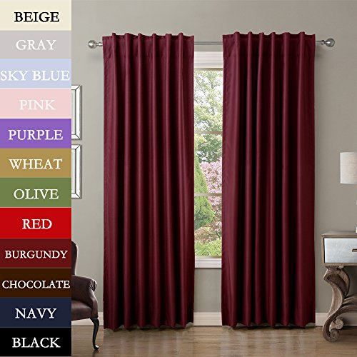 Twopages Solid Back Tab Rod Pocket Polyester Drapes Burgundy Blackout Curtains 52 W X 84 L