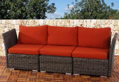 3er Sofa 3-Sitzer Siena Poly-Rattan, Gastronomie-Qualität ~ naturgrau mit Kissen in bordeaux