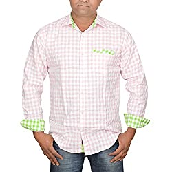 Hunk Men's light pink Cotton Shirt