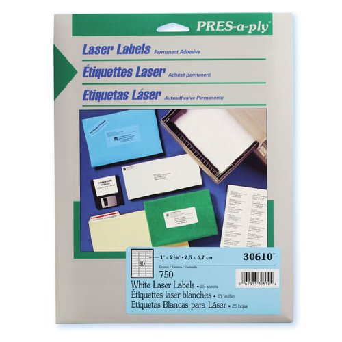Pres-A-Ply Laser Label, 1 X 2.625 Inches, White, Box Of 750 (30610)