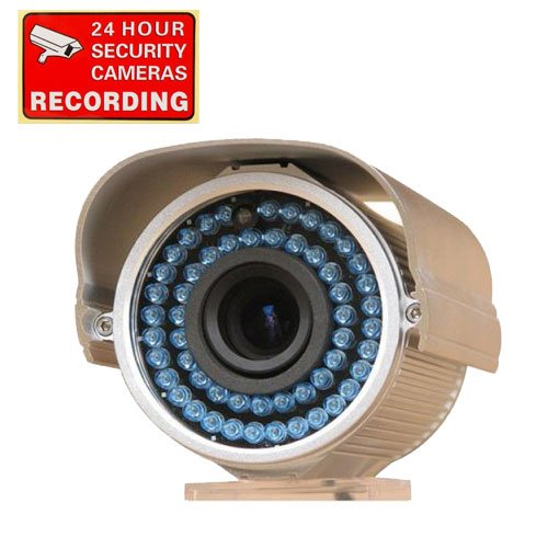 "VideoSecu 540TVL Outdoor Day Night Vision Security Camera 1/3"" Sony CCD 12mm lens 54 IR Leds free warning sticker 1WR"