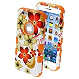 Product B00MUAHACO - Product title MYBAT Tuff Hybrid Protector Cover for iPhone 6 - Retail Packaging - Hibiscus Flower Romance/Orange