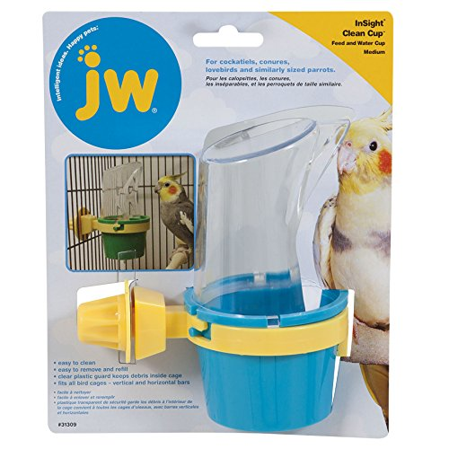 JW Pet Company Clean Cup Feeder and Water Cup Bird Accessory, Medium, Colors may vary