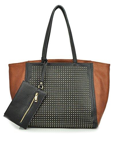 sr-squared-by-sondra-roberts-pebbled-nappa-with-pin-dots-tote-brown-black