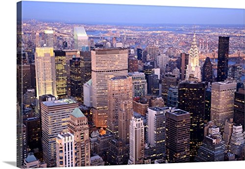 Premium Outdoor Canvas Wall Art Print entitled Aerial view towards Midtown and Upper East Side Manhattan, New York (Upper East Side Poster compare prices)