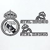 Real Madrid CF レアル・マドリード 小サイズ カーステッカー デカール 【ステッカー貼付説明書付】 (ブラック/3枚セット)