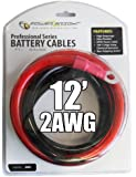 Power Bright 2-AWG12 2 AWG Gauge 12-Foot Professional Series Inverter Cables 2000-2500 watt